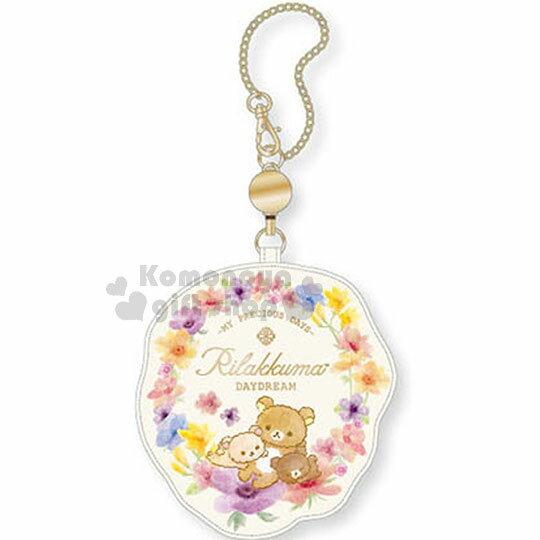 〔小禮堂﹞拉拉熊懶懶熊伸縮造型帆布票卡夾《米.花圈.躺姿》證件夾.車票夾