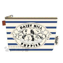 〔小禮堂﹞史努比 帆布拉鍊化妝包《米藍.條紋.花裝飾》收納包.筆袋