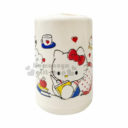 〔小禮堂〕Hello Kitty 塑膠牙刷架《米黃.看書.愛心》牙刷收納筒.銅板小物