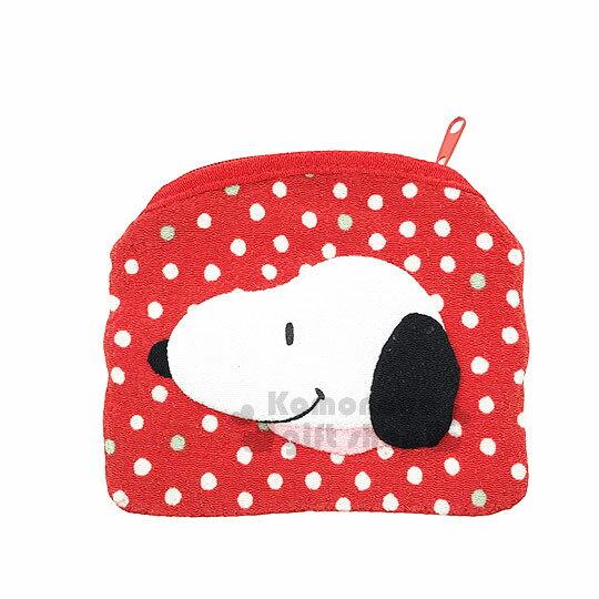 〔小禮堂〕史努比和風絲質面紙零錢包《紅.點點.滿版.大臉》收納包.化妝包