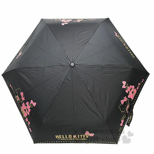 〔小禮堂〕Hello Kitty 造型柄折疊自動雨傘《黑桃.蝴蝶結》折傘.自動傘