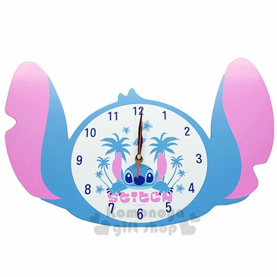 〔小禮堂〕迪士尼 史迪奇 造型壁掛式時鐘《藍.大臉.棕欖樹》可愛實用 0