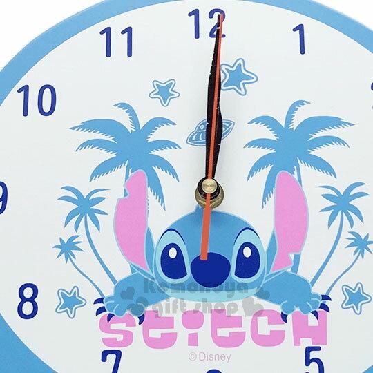 〔小禮堂〕迪士尼 史迪奇 造型壁掛式時鐘《藍.大臉.棕欖樹》可愛實用 1