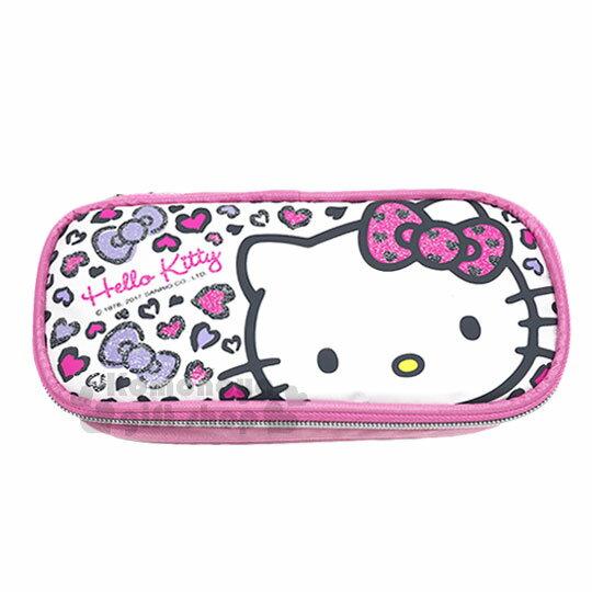 〔小禮堂〕Hello Kitty 尼龍掀蓋式筆袋《粉.豹紋.大臉》鉛筆盒