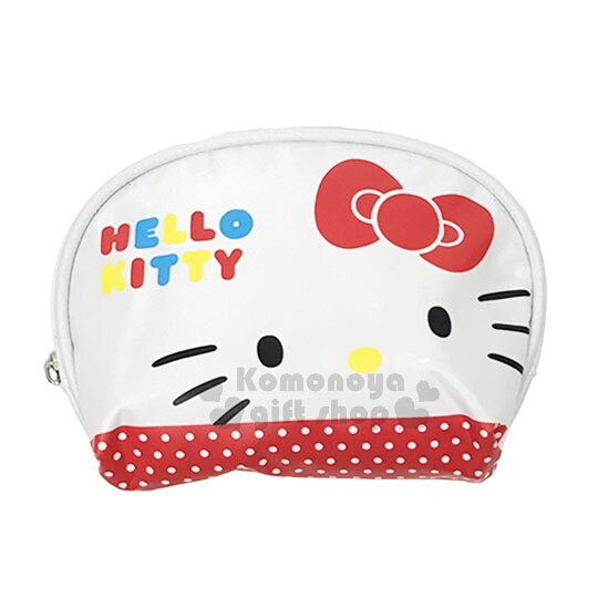〔小禮堂〕Hello Kitty 尼龍零錢包《白紅.大臉.點點.圓弧形》化妝包.收納包