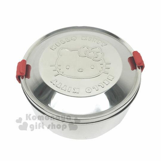 〔小禮堂〕Hello Kitty 不鏽鋼便當盒《銀.大臉.紅色矽膠扣》雙層.可蒸.台灣製