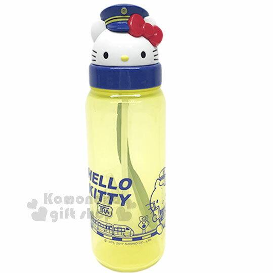 〔小禮堂〕Hello Kitty x 台鐵 造型吸管水壺《黃.透明.大臉》500ml.附腕繩.新太魯閣號限定