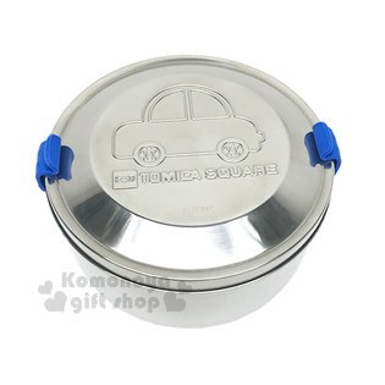 〔小禮堂〕TOMICA不鏽鋼便當盒《銀.汽車.藍色矽膠扣》雙層.可蒸.台灣製
