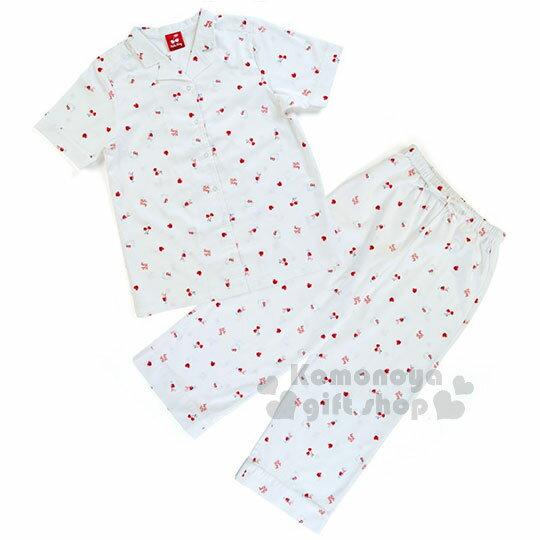 〔小禮堂〕Hello Kitty 短袖居家服套裝《白.大臉.櫻桃.滿版》襯衫式.睡衣.100%純棉.甜蜜夢境系列