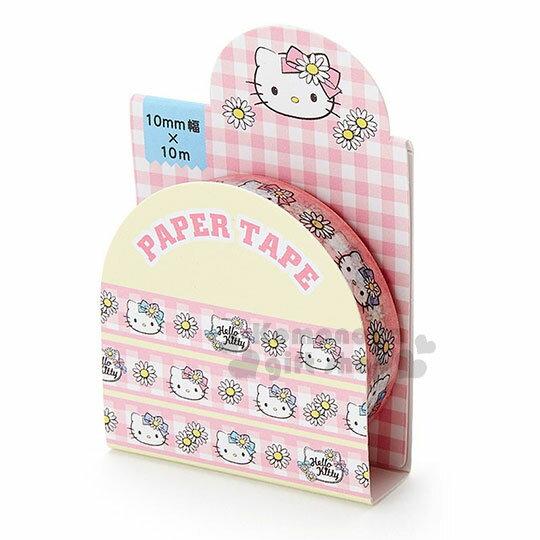〔小禮堂〕Hello Kitty 紙膠帶《粉黃.格子.大臉花》10mmx10m.裝飾.包裝禮物