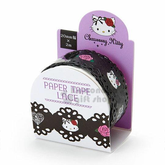 〔小禮堂〕恰咪蕾絲造型紙膠帶《黑.大臉.多圖.滿版》2mmx2m.裝飾.包裝禮物
