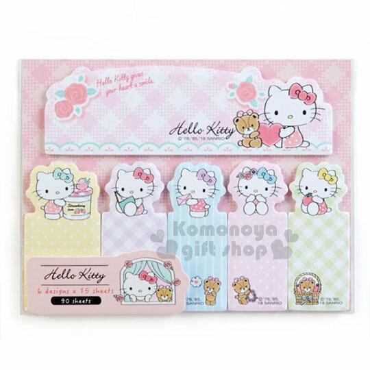 〔小禮堂〕Hello Kitty 日製自黏便利貼《粉.長條.格紋》便條.6種圖案.90張
