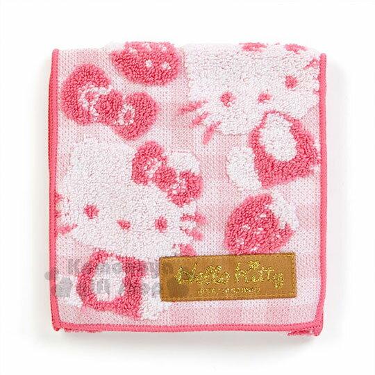 〔小禮堂〕HelloKitty毛巾布收納袋《桃.滿版.草莓.格紋》生理包.暖暖包袋.無撚系毛巾