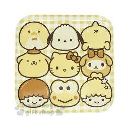 〔小禮堂〕Sanrio 大集合 陶瓷方盤《黃.格紋.大臉.多角色》可微波加熱.黃金麵包屋系列