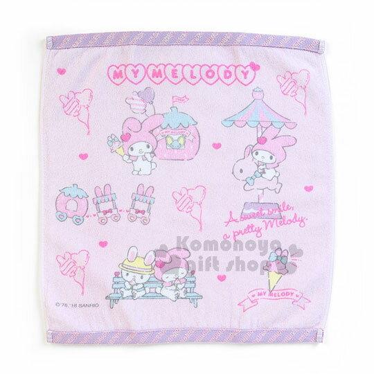 〔小禮堂〕美樂蒂 棉質方型毛巾《粉紫.滿版》34x36cm.草莓遊樂緣系列 0
