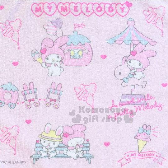 〔小禮堂〕美樂蒂 棉質方型毛巾《粉紫.滿版》34x36cm.草莓遊樂緣系列 1