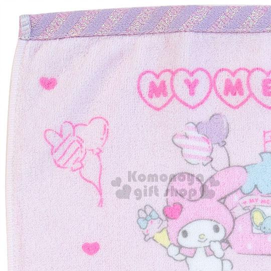 〔小禮堂〕美樂蒂 棉質方型毛巾《粉紫.滿版》34x36cm.草莓遊樂緣系列 2