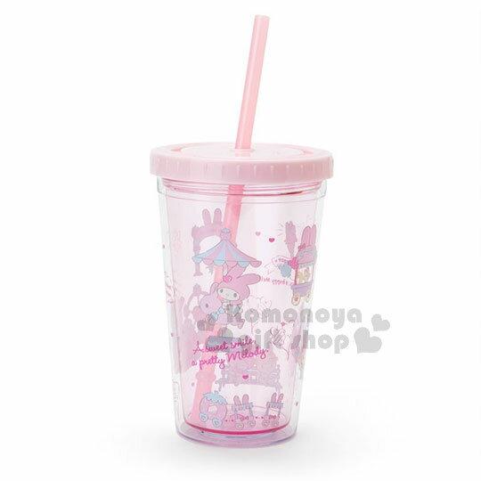 〔小禮堂〕美樂蒂塑膠吸管杯《粉.遊樂園.盒裝》300ml.飲料杯.水杯.草莓遊樂園系列