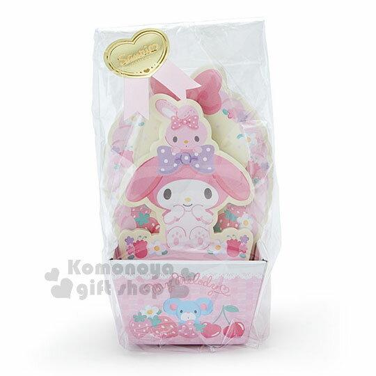 〔小禮堂〕美樂蒂日製造型便條紙附紙盒《粉黃.坐姿.草莓》