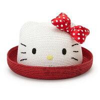 凱蒂貓週邊商品推薦到〔小禮堂〕Hello Kitty 兒童造型編織草帽《紅.白.蝴蝶結》草帽.遮陽