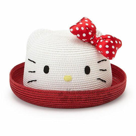 〔小禮堂〕HelloKitty兒童造型編織草帽《紅.白.蝴蝶結》草帽.遮陽