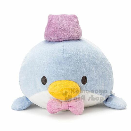 〔小禮堂〕山姆企鵝造型靠墊抱枕《藍.紫帽子.趴姿》靠枕.玩偶