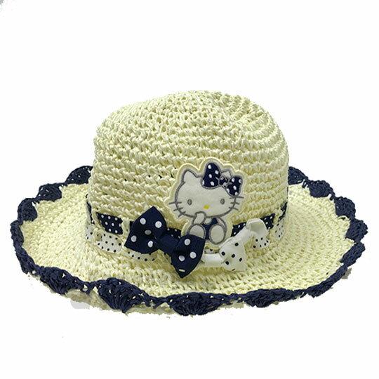 〔小禮堂〕HelloKitty兒童編織草帽《米.點點蝴蝶結.深藍邊》遮陽帽