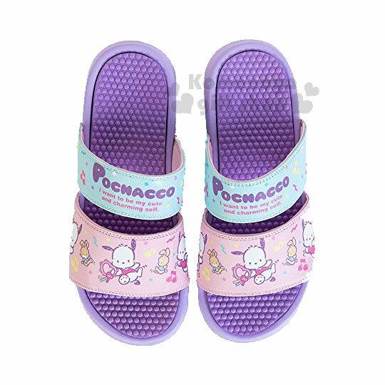 〔小禮堂〕帕恰狗雙帶休閒拖鞋《紫.音符.跳舞》室內拖鞋.涼鞋.海灘拖