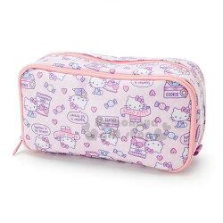 〔小禮堂〕Hello Kitty 防水雙層拉鍊筆袋《粉紫.滿版.餅乾》化妝包.收納包