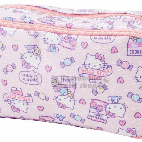 〔小禮堂〕Hello Kitty 防水雙層拉鍊筆袋《粉紫.滿版.餅乾》化妝包.收納包 1