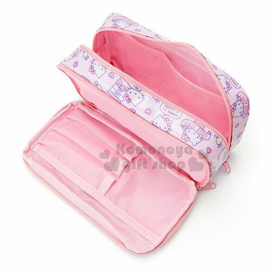 〔小禮堂〕Hello Kitty 防水雙層拉鍊筆袋《粉紫.滿版.餅乾》化妝包.收納包 2