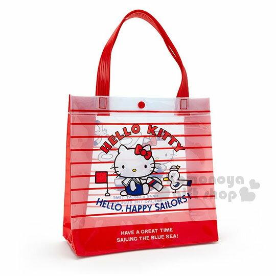 〔小禮堂〕HelloKitty防水扣式手提袋《紅白.條紋.海軍.方型》海灘袋.防水袋