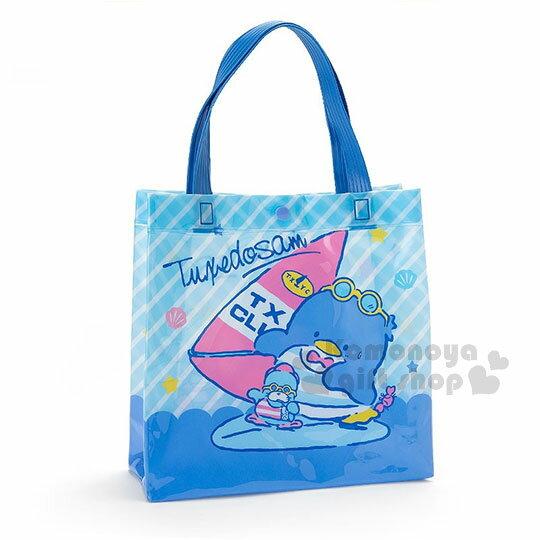 〔小禮堂〕山姆企鵝防水扣式手提袋《藍.條紋.衝浪.方型》海灘袋.防水袋