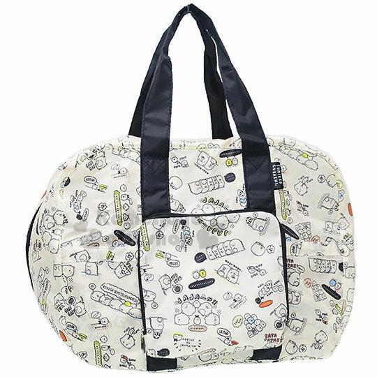 〔小禮堂〕角落生物可折疊斜背旅行袋《米黑.素描.文字.滿版》可掛於行李箱桿上
