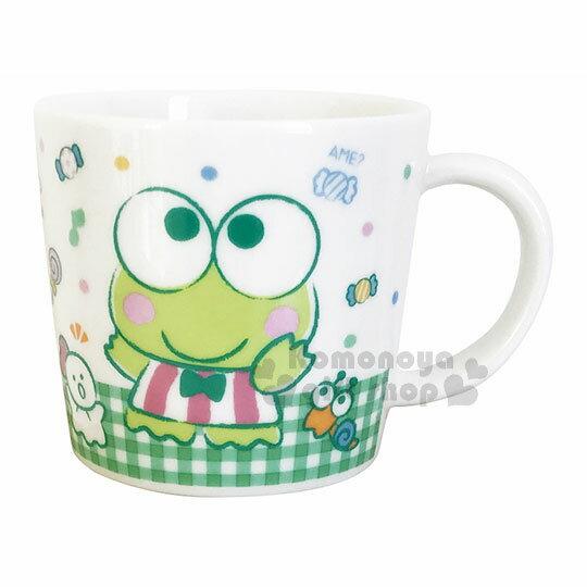 〔小禮堂〕大眼蛙日製陶瓷馬克杯《白.格紋.站姿.點點.糖果》精緻盒裝.日本金正陶器
