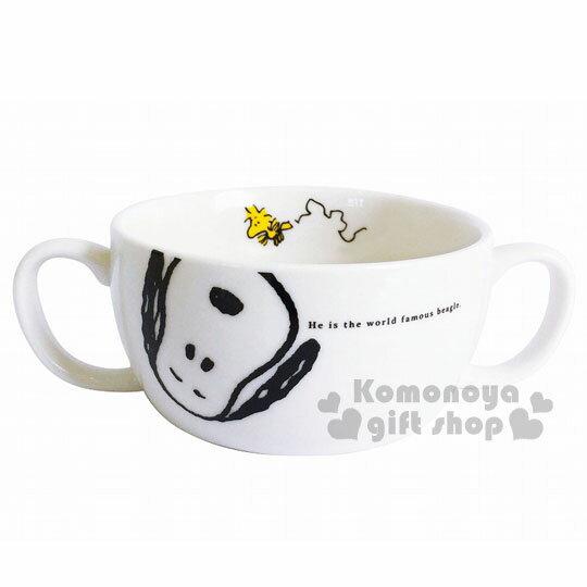 〔小禮堂〕史努比日製雙耳陶瓷碗《白.閉眼坐姿.大臉.糊塗塔克》精緻盒裝.日本金正陶器