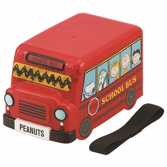 〔小禮堂〕史努比造型便當盒《紅.公車造型》附便當束帶