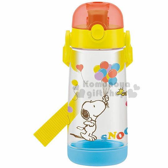 〔小禮堂〕史努比直飲水壺《透明.拿氣球.糊塗塔客》480ml.附背帶.兒童水壺