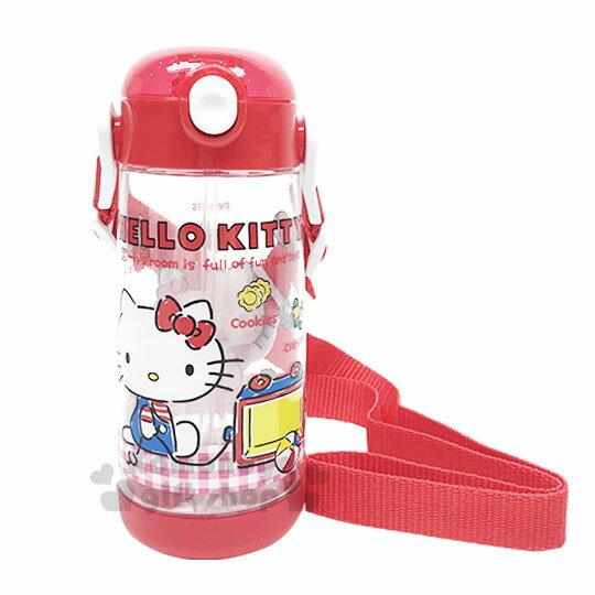 〔小禮堂〕HelloKitty彈跳吸管水壺《紅.側坐.格紋》480ml.附背帶