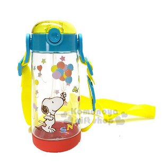 〔小禮堂〕史努比彈蓋式吸管水壺《藍紅.透明.氣球》480ml.附可拆背繩