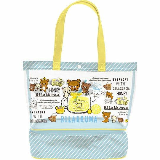 〔小禮堂〕拉拉熊懶懶熊防水扣式雙層手提袋《綠.檸檬.黃提把》側背袋.海灘袋