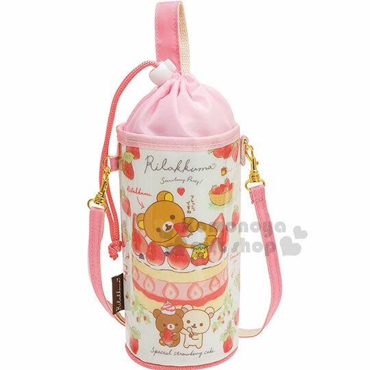 〔小禮堂〕拉拉熊懶懶熊保冷束口水壺袋《粉白.草莓.甜點》附可調式背帶.草莓派對系列