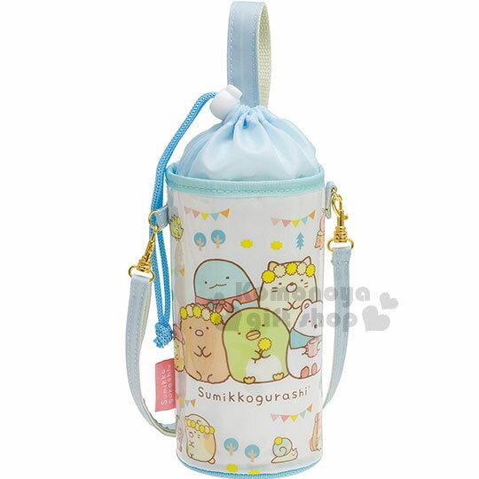 〔小禮堂〕角落生物保冷束口水壺袋《綠白.派對旗.花圈》附可調式背帶