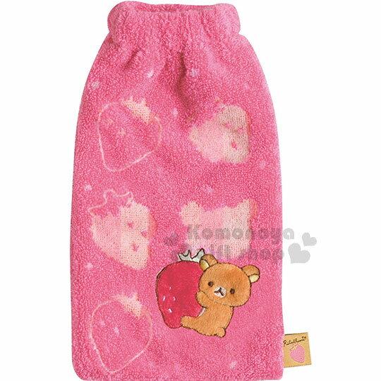 〔小禮堂〕拉拉熊 懶懶熊 多功能毛巾布水壺袋《粉.抱草莓.坐姿》500-650ml適用.收納袋