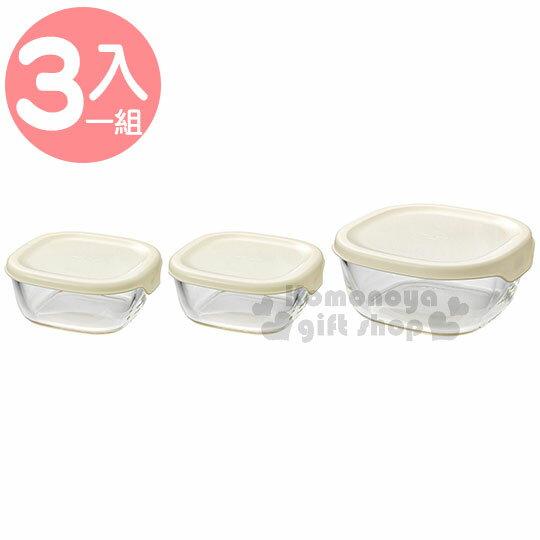 〔小禮堂〕HARIO 日製玻璃保鮮盒組《3入.白蓋.透明.方型》便當盒.可微波