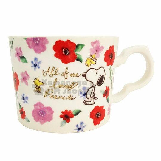 〔小禮堂〕史努比陶瓷馬克杯《白紅.花.滿版》寬口杯.盒裝