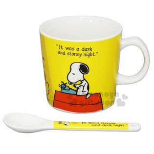 〔小禮堂〕史努比陶瓷馬克杯湯匙組《黃.坐屋頂.收銀機.朋友》精緻盒裝