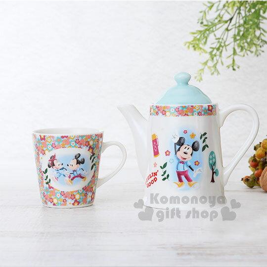 〔小禮堂〕迪士尼 米奇米妮 陶瓷杯壺組《白藍.手牽手》茶壺.茶杯..精緻盒裝