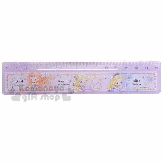〔小禮堂〕迪士尼 公主 日製塑膠尺《紫.愛麗絲.樂佩.美人魚.亮粉》15公分