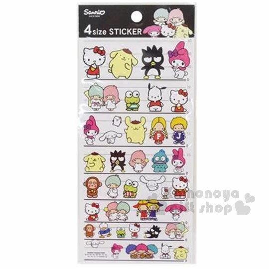 〔小禮堂〕Sanrio 大集合 日製造型貼紙《黑白紙卡.4種尺寸.多角色.朋友》